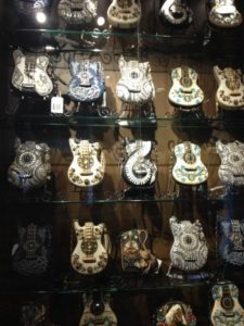 Highlights include an entire store wall of embroidered guitar purses.